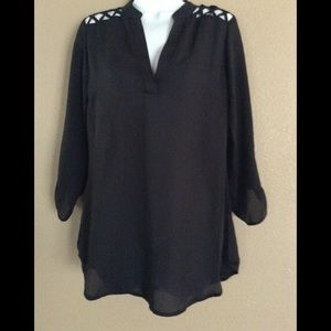 Rue21 Black Blouse Small with shoulder cut outs